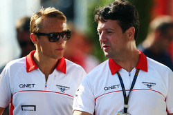 (L to R): Max Chilton, Marussia F1 Team with Dave O'Neill, Marussia F1 Team Manager