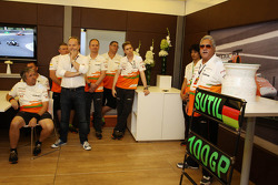 Dr. Vijay Mallya, Sahara Force India F1 Team Owner at a team presentation for Adrian Sutil, Sahara Force India F1, celebrates his 100th GP