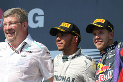 Ross Brawn, Mercedes GP, Technical Director, Lewis Hamilton, Mercedes AMG F1 and Sebastian Vettel, Red Bull Racing
