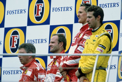 Podium: Race winner Michael Schumacher, Ferrari F2005, second place Rubens Barrichello, Ferrari F2005,  third place Tiago Monteiro, Jordan Toyota EJ15 and Ross Brawn, Ferrari
