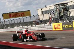 Kimi Raikkonen, Ferrari SF70H takes the chequered flag at the end of Qualifying