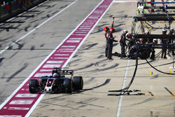 Romain Grosjean, Haas F1 Team VF-17, leaves his pit box after a stop