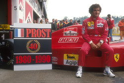 Alain Prost, Ferrari, commemorates his 40 Grand Prix wins