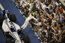 Second place Felipe Massa, Williams F1, celebrates in parc ferme