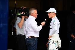 Johnny Herbert, Sky TV talks with pole sitter Valtteri Bottas, Mercedes AMG F1 in parc ferme