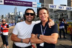TV Pundit Dario Franchitti, Stefan Johansson on the grid