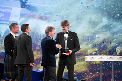 Marcus Gronholm presents the Rally Car of the Year Award for the Ford Fiesta RS WRC to Malcolm Wilson