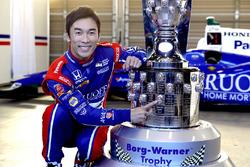 Indy 500 winner Takuma Sato, Andretti Autosport with the Borg-Warner Trophy
