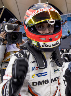 Timo Bernhard celebrates a race win