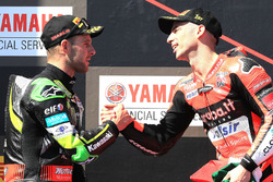 Podium: race winner Marco Melandri, Aruba.it Racing-Ducati SBK Team, second place Jonathan Rea, Kawasaki Racing