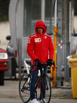 Antonio Giovinazzi, Ferrari test and reserve driver, on a bicycle