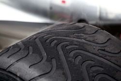 A warm Pirelli intermediate tyre
