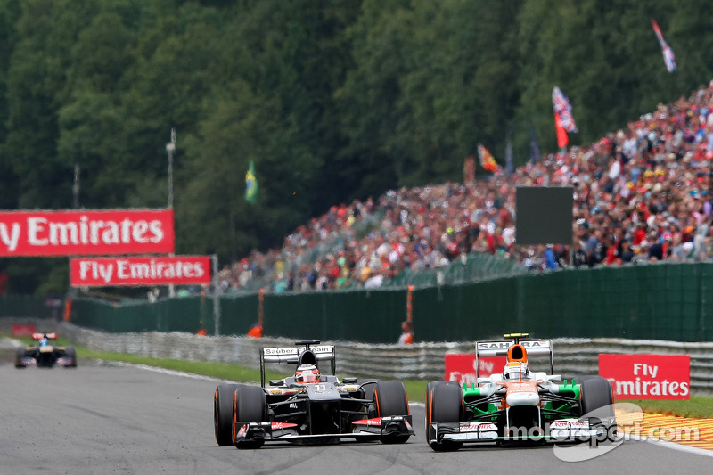 Adrian Sutil, Sahara Force India en Nico Hulkenberg, Sauber