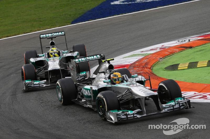 Lewis Hamilton, Mercedes AMG F1 W04 and team mate Nico Rosberg, Mercedes AMG F1 W04 battle for position