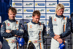 LMGTE Am podium: second place Christoffer Nygaard, Kristian Poulsen, Nicki Thiim