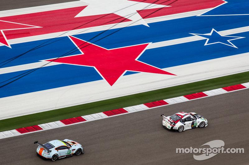 #92 Porsche AG Team Manthey Porsche 911 RSR : Marc Lieb, Richard Lietz, #97 Aston Martin Racing Aston Martin Vantage V8: Stefan Mücke, Darren Turner, Oliver Gavin