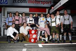 Dirk Werner, BMW Team Schnitzer BMW M3 DTM, pit stop in Lederhose competition