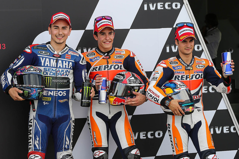Ganador de la pole Marc Márquez, segundo Jorge Lorenzo, Dani Pedrosa el tercer lugar
