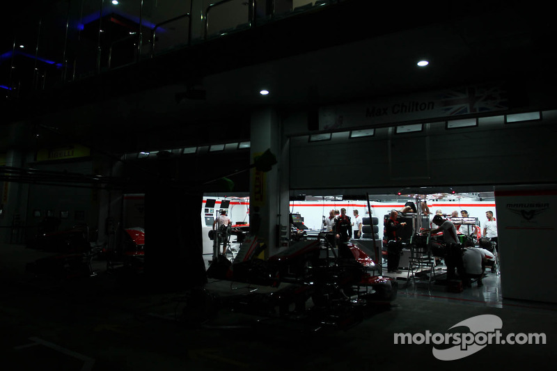 Marussia F1 Team pit garages at night