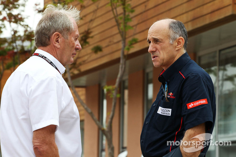 (L naar R): Dr Helmut Marko, Red Bull Motorsport Consultant met Franz Tost, Teambaas Scuderia Toro Rosso