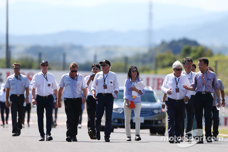 FIA delegates, including Gary Connely, FIA Steward and CAMS, Charlie Whiting, FIA Delegate and Herbi