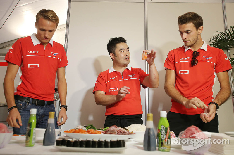 (L to R): Max Chilton, Marussia F1 Team and Jules Bianchi, Marussia F1 Team MR02 at a team sushi eve
