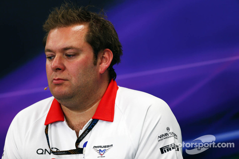 Dave Greenwood, Marussia F1 Team Race Engineer bij de FIA-persconferentie