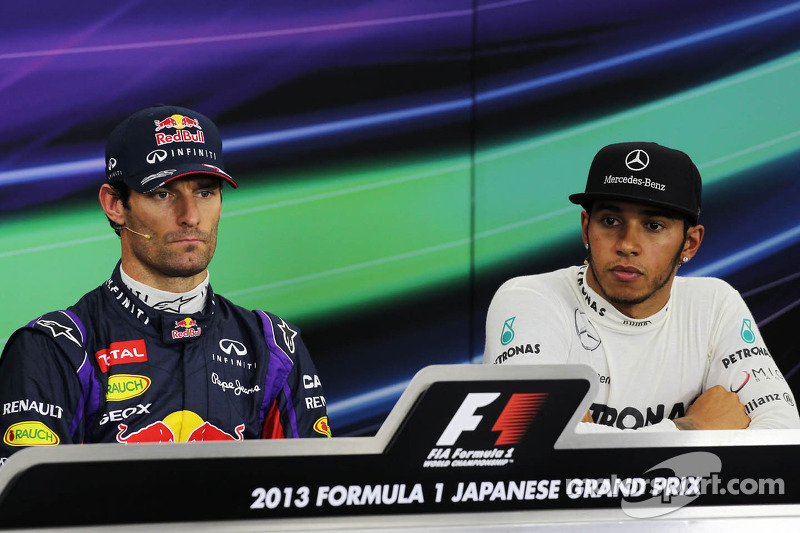 (L to R): pole sitter Mark Webber, Red Bull Racing with Lewis Hamilton, Mercedes AMG F1 in the FIA Press Conference