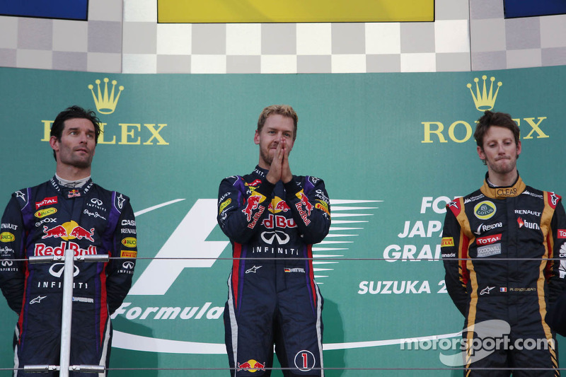 Podium: Sieger Sebastian Vettel, Red Bull Racing; 2. Mark Webber, Red Bull Racing; 3. Romain Grosjea