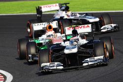 Valtteri Bottas, Williams FW35 ve Paul di Resta, Sahara Force India VJM06 ve Pastor Maldonado, Williams FW35