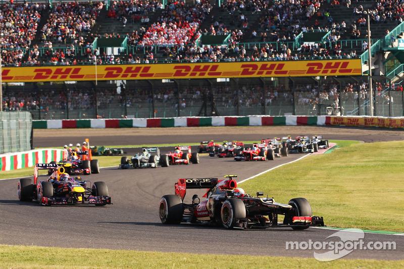 Romain Grosjean, Lotus F1 E21 líder al inicio de la carrera