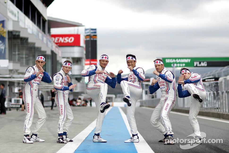 Toyota drivers Anthony Davidson, Stéphane Sarrazin, Sebastien Buemi, Alexander Wurz, Nicolas Lapierre, Kazuki Nakajima