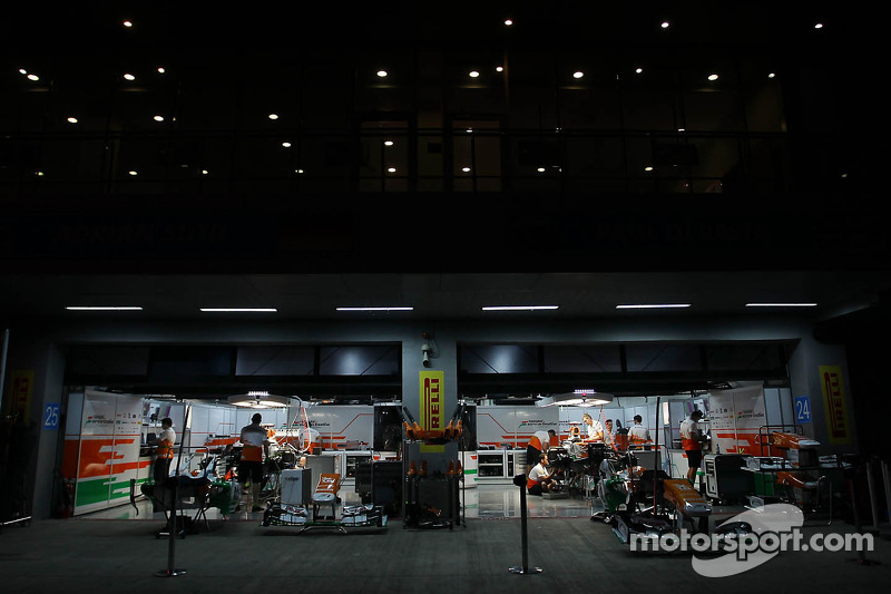 Sahara Force India F1 Team pit garage at night