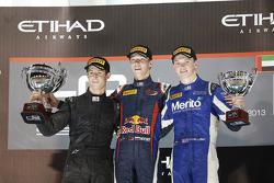 Race winner and 2013 champion Daniil Kvyat, second place Alexander Sims, third place Nick Yelloly