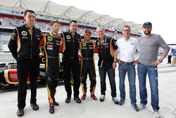 (L to R): Romain Grosjean, Lotus F1 Team with Eric Boullier, Lotus F1 Team Principal; Heikki Kovalainen, Lotus F1 Team; Eric Lux, Genii Capital CEO and Gerard Lopez, Genii Capital at a team photograph