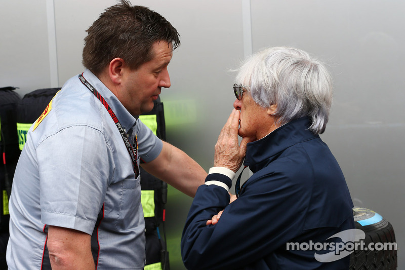 (L naar R): Paul Hembery, Pirelli Motorsport Director met Bernie Ecclestone, CEO Formula One Group
