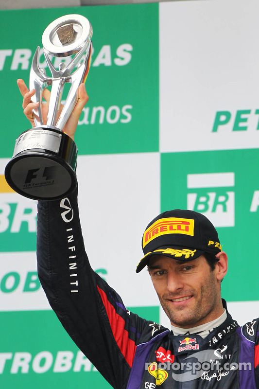 Mark Webber, Red Bull Racing comemora sua segunda posição e final GP no pódio