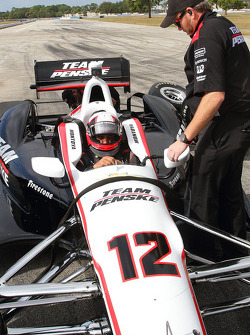 Juan Pablo Montoya tests the Team Penske Chevrolet