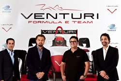 Actor Leonardo DiCaprio and owner Gildo Pastor participate in the Venturi Racing launch
