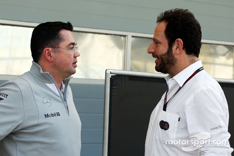 (L to R): Eric Boullier, McLaren Racing Director with Matteo Bonciani, FIA Media Delegate