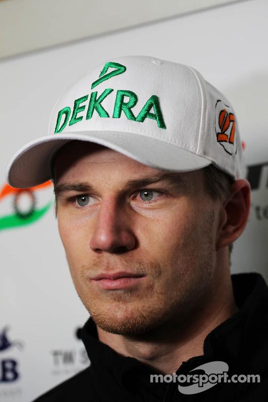 Nico Hulkenberg, Sahara Force India F1, com a mídia