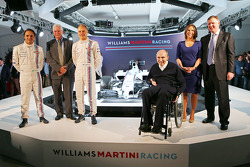 Felipe Massa et Valtteri Bottas, Pat Symonds, Sir Frank Williams, Claire Williams, Williams Martini F1 Team