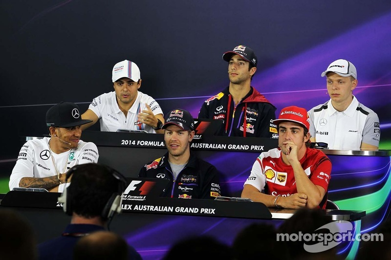 Conferenza stampa FIA, Williams; Daniel Ricciardo, Red Bull Racing; Kevin Magnussen, McLaren; Lewis