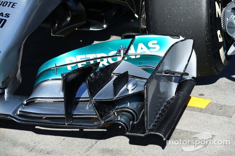 Mercedes AMG F1 W05 front wing detail. at Australian GP
