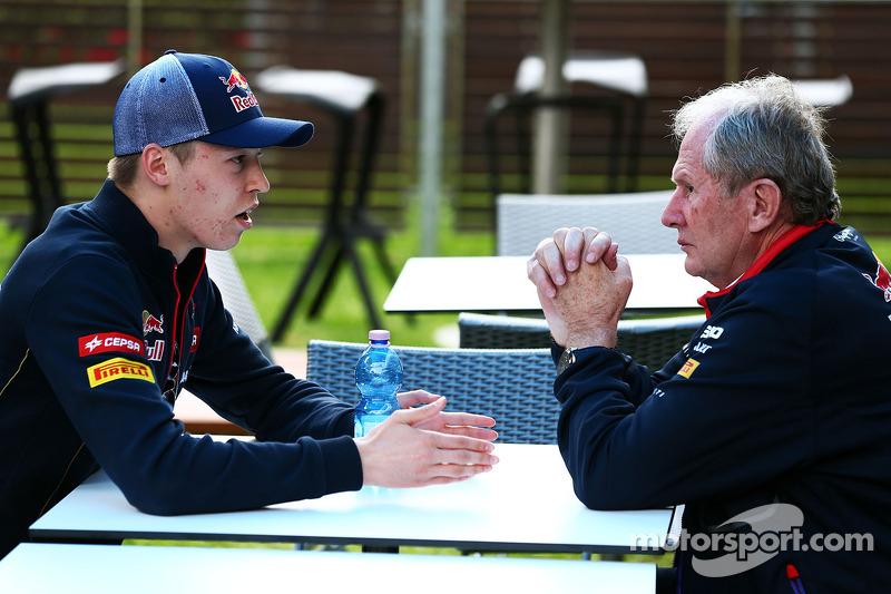 (L to R): Daniil Kvyat, Scuderia Toro Rosso with Dr Helmut Marko, Red Bull Motorsport Consultant