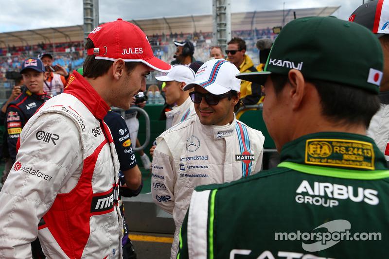 (L to R): Jules Bianchi, Marussia F1 Team with Felipe Massa, Williams and Kamui Kobayashi, Caterham