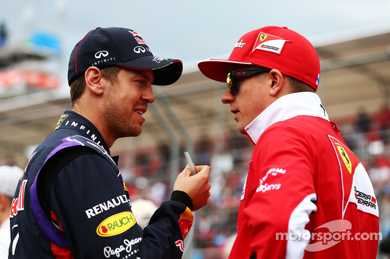 (L to R): Sebastian Vettel, Red Bull Racing with Kimi Raikkonen, Ferrari on the drivers parade