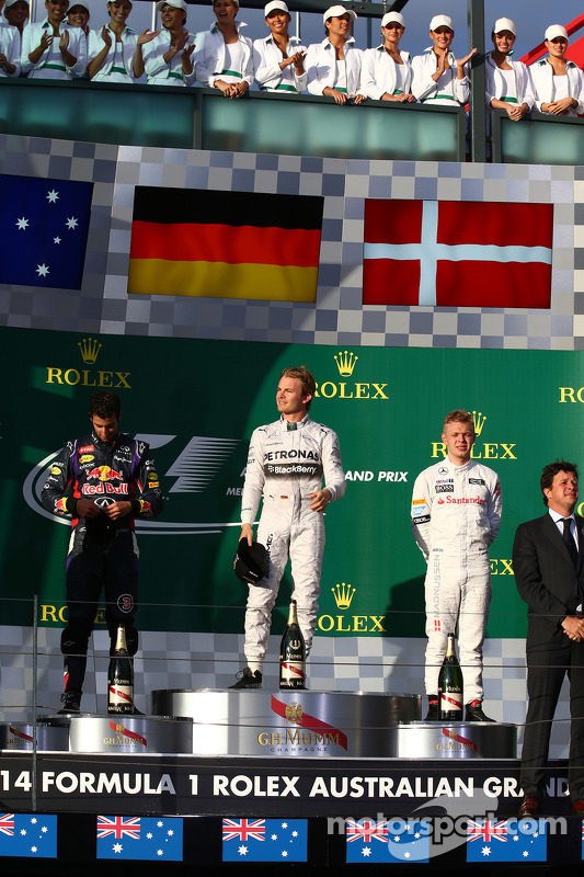 1.  Nico Rosberg, Mercedes AMG F1 W05; 2. Daniel Ricciardo, Red Bull Racing RB10; 3.Kevin Magnussen, McLaren MP4-29