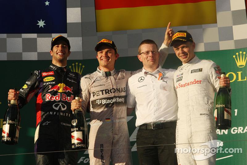 2014. Подіум: 1. Ніко Росберг, Mercedes. (2.) Даніель Ріккардо, Red Bull Renault (дискваліфікований). 2. Кевін Магнуссен, McLaren Mercedes. 3. Дженсон Баттон, McLaren Mercedes