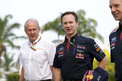(L to R): Dr Helmut Marko, Red Bull Motorsport Consultant with Christian Horner, Red Bull Racing Team Principal and Adrian Newey, Red Bull Racing Chief Technical Officer